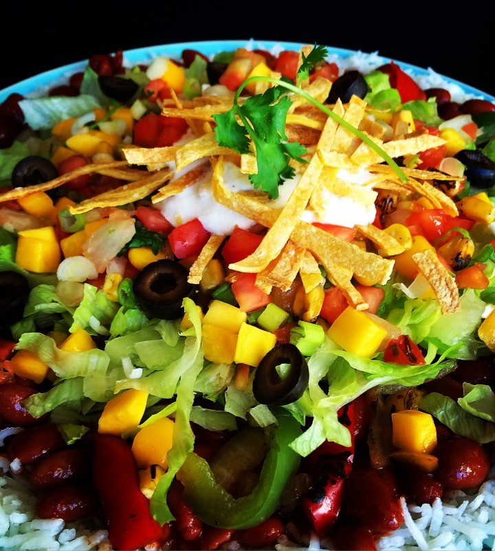 Taco Salad and Burrito Bowls with Crispy Baked Tortilla Strips