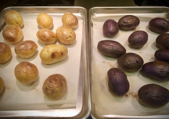 Baking gold and purple potatoes for a double batch of Vegan Loaded Baked Potato Skins