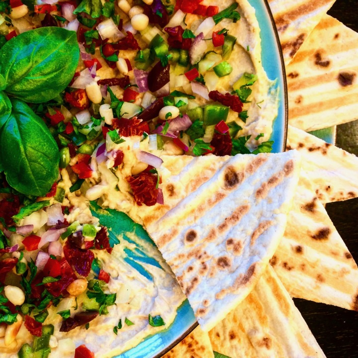 Mediterranean Dip (Vegan) with Grilled Flatbread