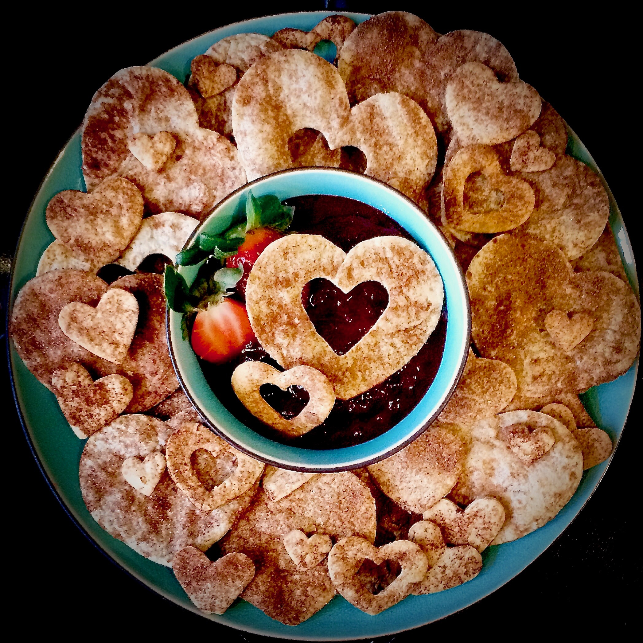 Baked Cinnamon Hearts with Sweet Cherry Dipping Sauce