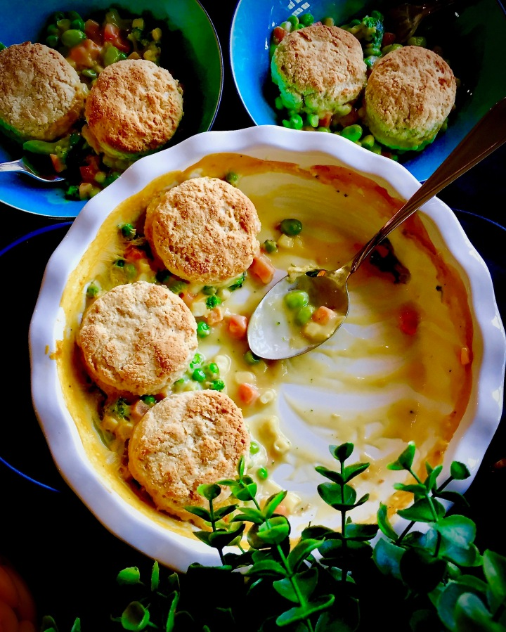 Vegetable Pot Pie topped with Vegan Sour Cream Biscuits